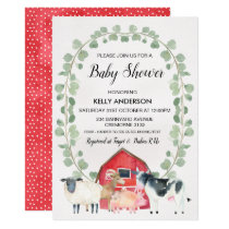 Farmyard Animals Wreath Baby Shower Invitation