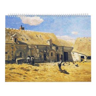 Farmyard at Chailly - Claude Monet Wall Calendar