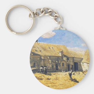 Farmyard at Chailly - Claude Monet Keychain