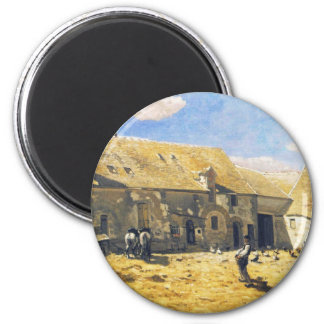 Farmyard at Chailly - Claude Monet Magnet