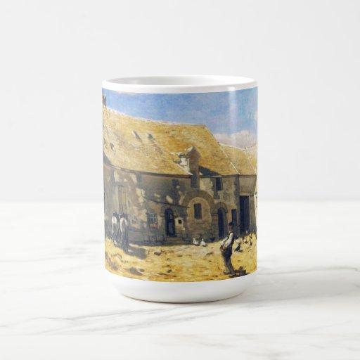 Farmyard at Chailly - Claude Monet Classic White Coffee Mug