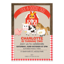 Farmyard Barnyard Animals Birthday Invitation