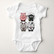Farmyard / Barnyard Animals  /Creeper Baby Bodysuit