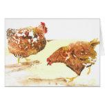 Farmyard chickens card