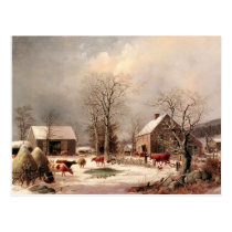 Farmyard in Winter Postcard