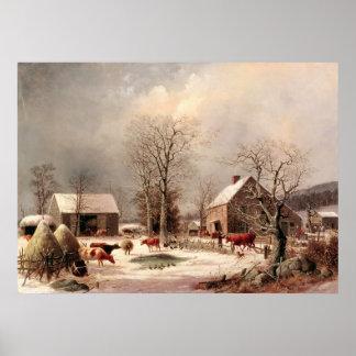 Farmyard in Winter Poster