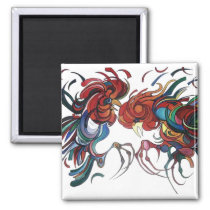 Farmyard Roosters Magnet