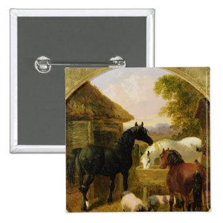 Farmyard Scene 2 Inch Square Button