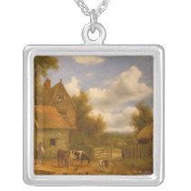 Farmyard Scene Silver Plated Necklace