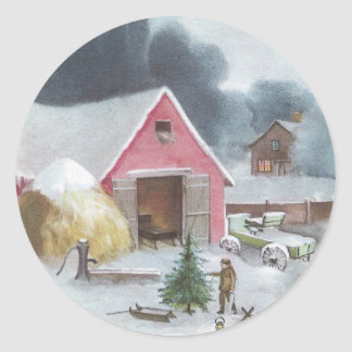 Farmyard with Pink Barn Vintage Christmas Classic Round Sticker