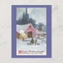 Farmyard with Pink Barn Vintage Christmas Holiday Postcard