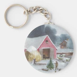Farmyard with Pink Barn Vintage Christmas Keychain