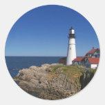 Faro 8 de Maine Pegatina Redonda