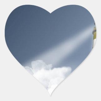 Faro alto del cielo pegatina en forma de corazón