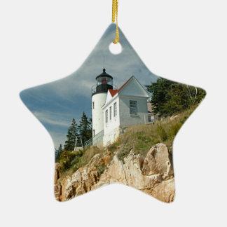 Faro bajo de la cabeza del puerto adorno navideño de cerámica en forma de estrella