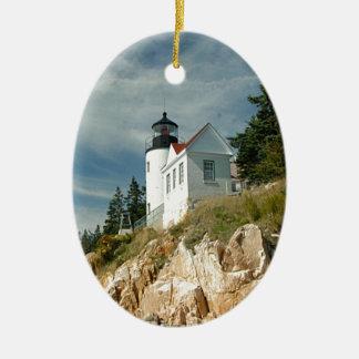 Faro bajo de la cabeza del puerto adorno navideño ovalado de cerámica