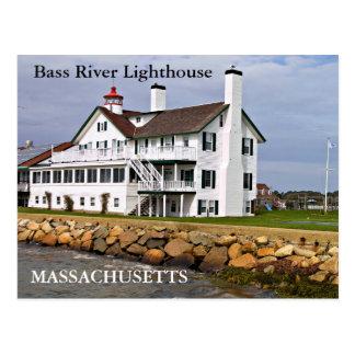 Faro bajo del río, postal de Massachusetts