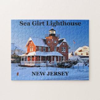 Faro ceñido mar, rompecabezas de New Jersey