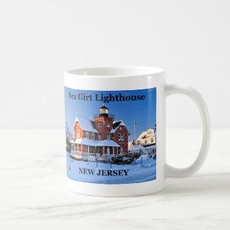 Faro ceñido mar, taza de New Jersey