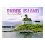 Faro color de rosa de la isla, Newport, Rhode Isla Tarjetas Postales
