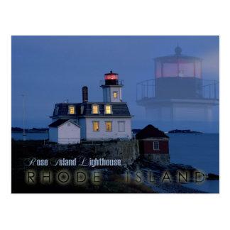 Faro color de rosa en la noche, Rhode Island de la Postales