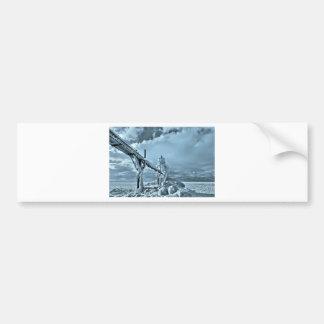 Faro congelado en invierno pegatina para auto