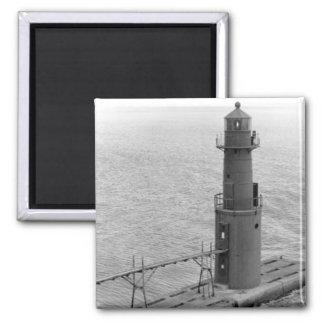 Faro de Algoma Pierhead Imán Cuadrado