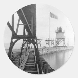 Faro de Algoma Pierhead Pegatina Redonda