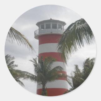Faro de Bahamas del puerto franco Pegatina Redonda