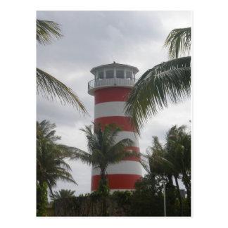 Faro de Bahamas del puerto franco Tarjeta Postal