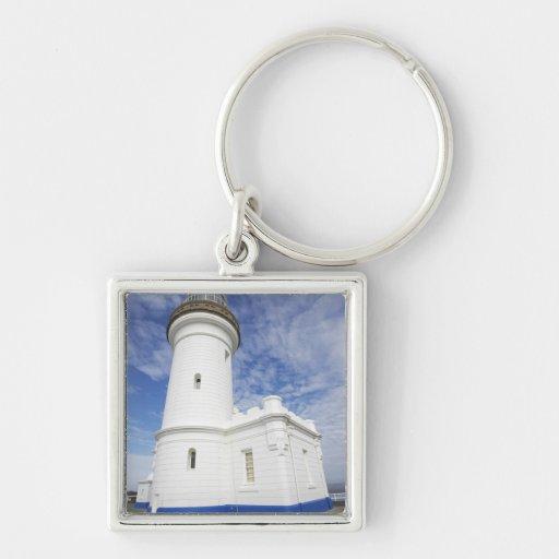Faro de Byron del cabo, cabo Byron (Australia Llavero Cuadrado Plateado