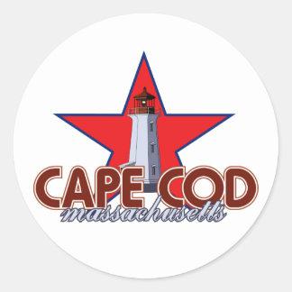 Faro de Cape Cod Pegatina Redonda