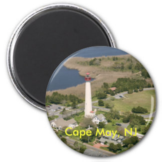 Faro de Cape May, Cape May, NJ Imán Redondo 5 Cm