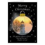 Faro de Cheboygon de las Felices Navidad Tarjetas