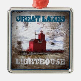 Faro de Great Lakes Adorno Navideño Cuadrado De Metal