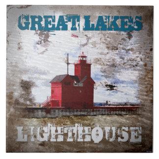 Faro de Great Lakes Azulejo Cuadrado Grande