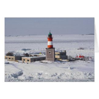 Faro de Harmaja en la tarjeta de Helsinki Finlandi