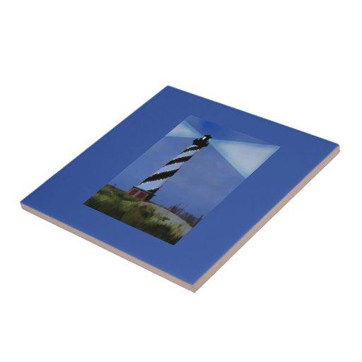 Faro de Hatteras del cabo en el navidad Azulejos Cerámicos