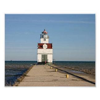 Faro de Kewaunee - el lago Michigan Fotografía