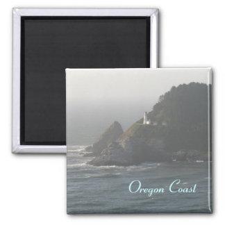Faro de la costa de Oregon Imán Cuadrado
