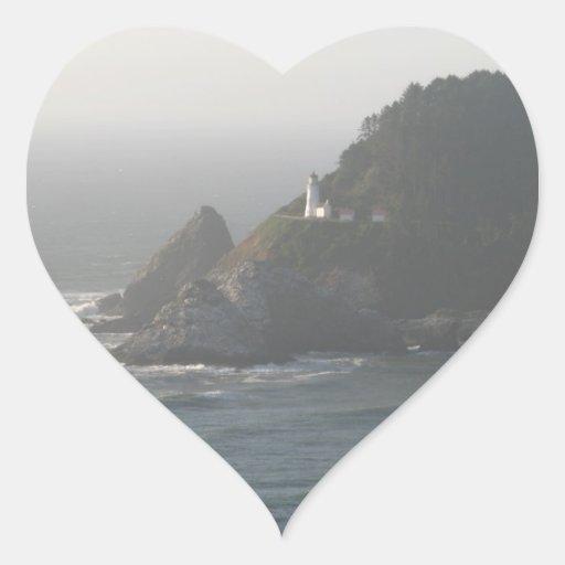 Faro de la costa de Oregon Pegatina En Forma De Corazón