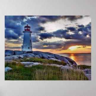 Faro de la ensenada de Peggys - Nueva Escocia Póster