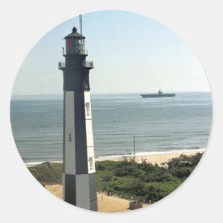 Faro de la historia del fuerte pegatina redonda