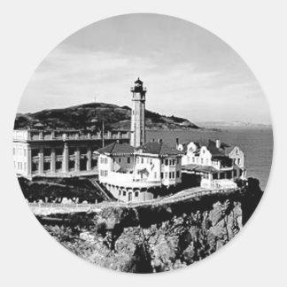 Faro de la isla de Alcatraz Pegatina Redonda