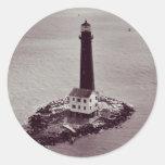 Faro de la isla de la arena pegatina redonda
