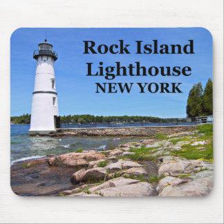 Faro de la isla de la roca, Nueva York Mousepad