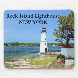 Faro de la isla de la roca, Nueva York Mousepad #2