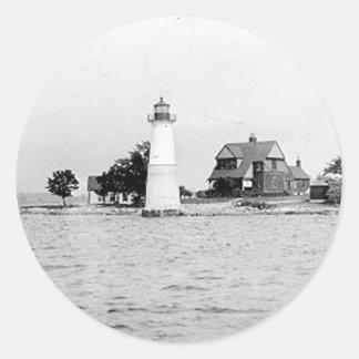 Faro de la isla de la roca pegatina redonda
