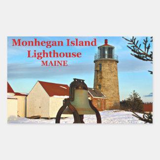 Faro de la isla de Monhegan, pegatinas de Maine Rectangular Pegatina