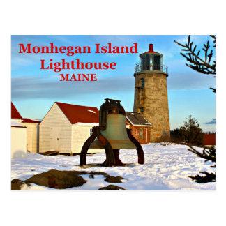Faro de la isla de Monhegan, postal de Maine